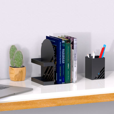 'Iron Arch' Black Bookend Set with Matching Storage Cup