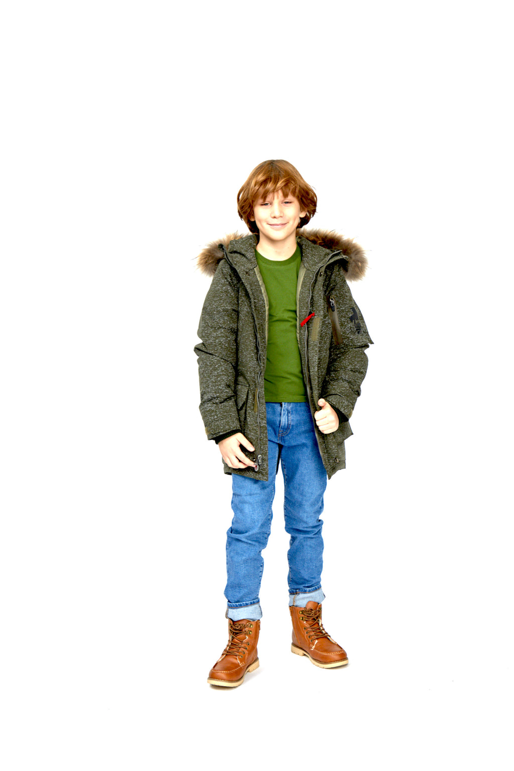 boys parka, KHAKI with REFLECTIVE pattern