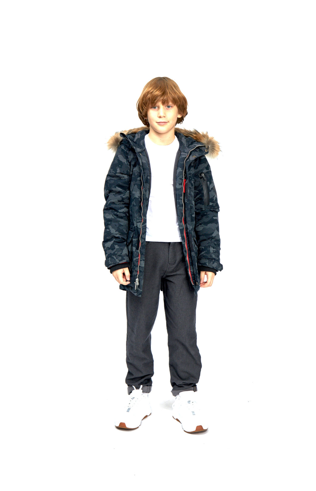 boys parka, BLACK with REFLECTIVE pattern