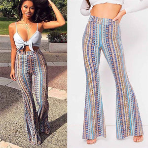 Striped Printed Flare Pants