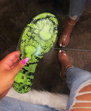 Leopard Snake Print Slip-On Jelly Slippers