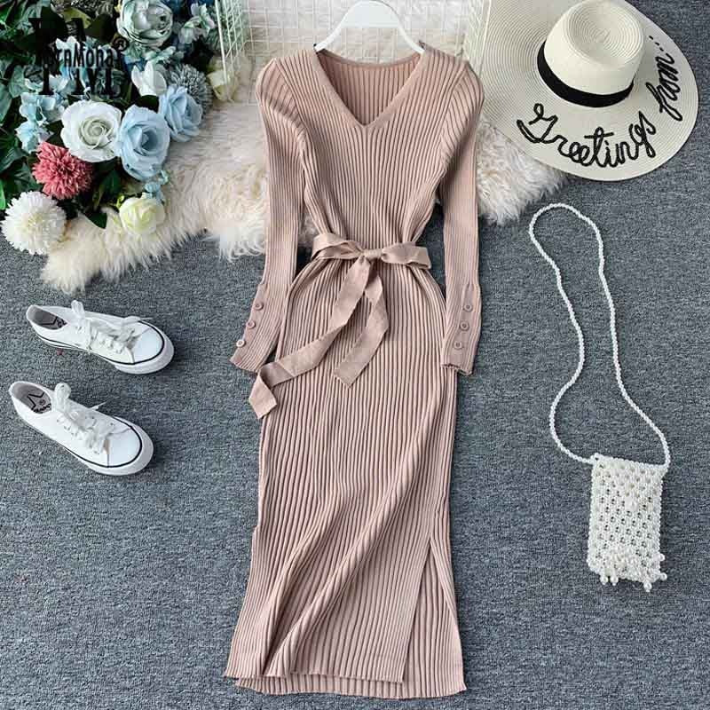 YornMona Elegant v Neck Split Midi Dress 2019 Autumn Winter Women Knitted Sweater Dress Button Long Sleeve Sashes Bodycon Dress