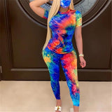 Tie-Dye Two Piece Set Women Summer Clothes Casual Sportswear 2 Piece Outfit for Women Sweat Suit Short Sleeve Top and Shorts Set