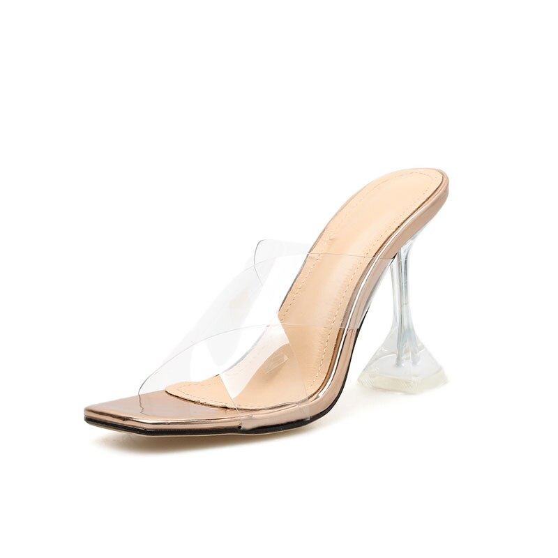 Plus Size 42 Yellow PVC Jelly Sandals Crystal Clear Spike High Heels Crystal Women Transparent Heel Sandals Slippers 9.5cm Pumps
