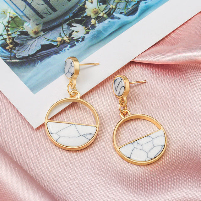 Round Dangle Drop Earrings