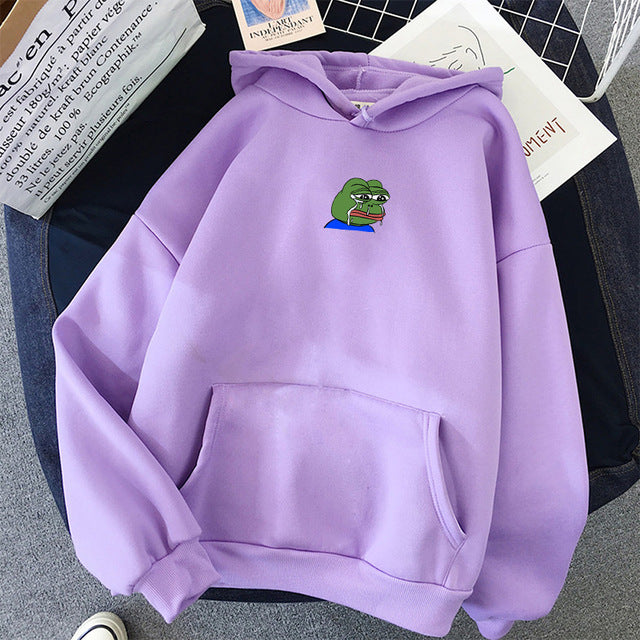 Sad Tearing Frog Print Hoodies
