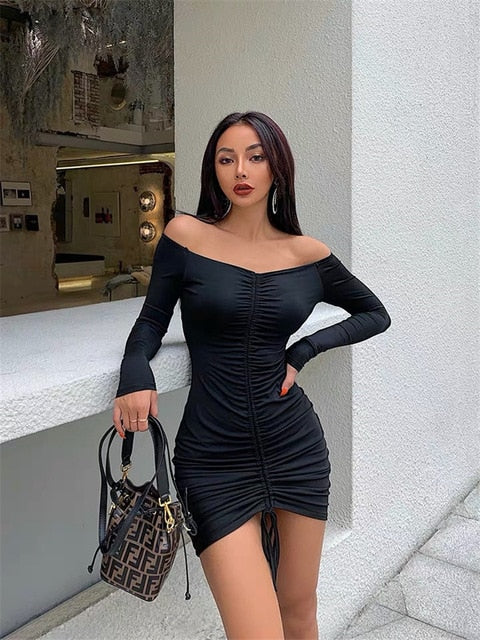 XIBANI tube fall clothes for women sexy bodycon dress long sleeve vestidos Women 2019 sexy club outfits Party Dresses white