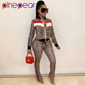 PinePear Fall 2020 Casaul Snake Print Tracksuit Women 2 Piece Set Top and Pants Striped Patchwork Zipper Sweat Suit Dropshipping