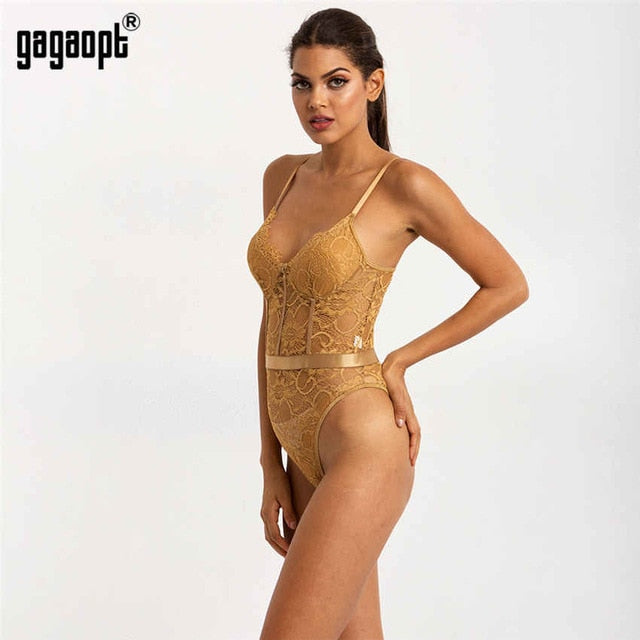 Gagaopt 2020 Hollow Out Sexy V-Neck Lace Bodysuit Sleeveless One Piece Body Feminino Romantic Sheer Teddy Fashion Bodysuit