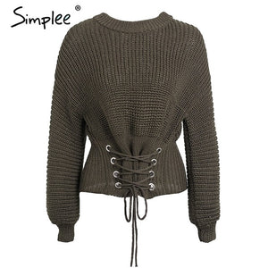 Simplee Elegant front lace up women pullover sweater Autumn winter long sleeve female sweater Casual streetwear ladies sweater