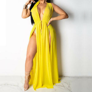 Sexy New Women Beach Cover Ups Swimwear Deep V Beach Maxi Wrap Long Dress Bikini Cover Up Sarong Kimono Kaftan Dress Beachwear