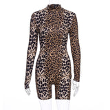 Hugcitar 2019 long sleeve tiger leopard print sexy bodycon playsuit autumn winter women streetwear club body fall cute outfits