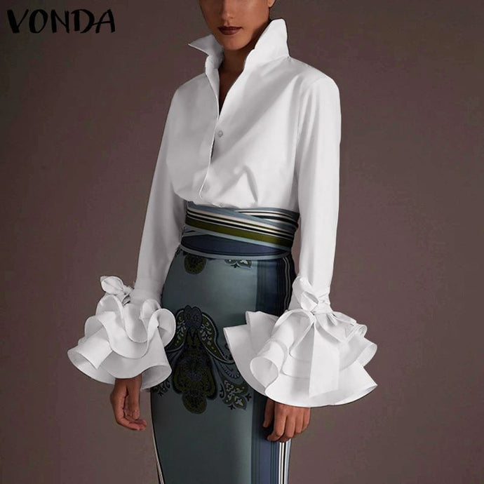 Women Office Shirts Sexy Lapel Neck Flare Sleeve Party Tops Work Blouse VONDA 2020 Spring Summer Casual Solid Plus Size Blusas