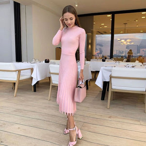Future Time Women Knitted Long Dress Autumn Winter Slim Sleeve Ladies Dresses Elegant Party Female Sweater Dress 8 colors F792