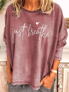 Full Sleeve Letter Summer Tshirts For Women Loose Plus Size Round Neck Tops tee lady Casual Tees Shirt