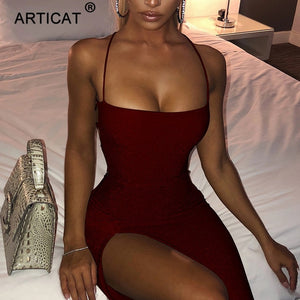 Articat Long Backless Maxi Dress Women Spaghetti Strap High Split Bodycon Bandage Summer Dress Elegant Slim Party Dress Vestidos