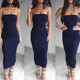 Sibybo Off Shoulder Strapless Sexy Women Dress Sleeveless Straight Long Bodycon Dress Backless Casual Summer Party Dress Women
