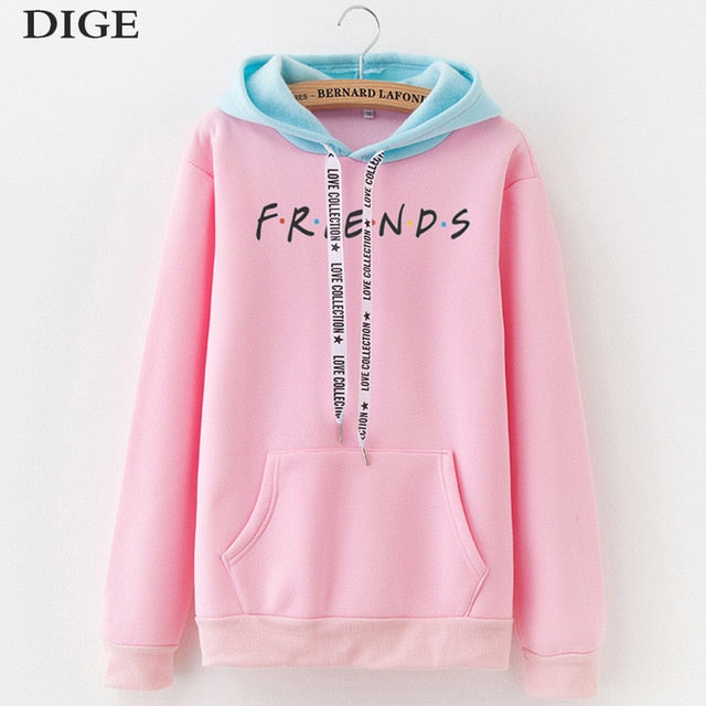 2019 New Friends Printing Hoodies Sweatshirts Harajuku Crew Neck Sweats Women Clothing Feminina Loose Women's Outwear Fall B0314