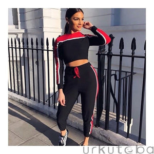 Casual Women's Tracksuit Tights Sportswear Fitness Suit For Female Clothing Workout Two Piece Jumpsuit Long Sleeve Crop Top