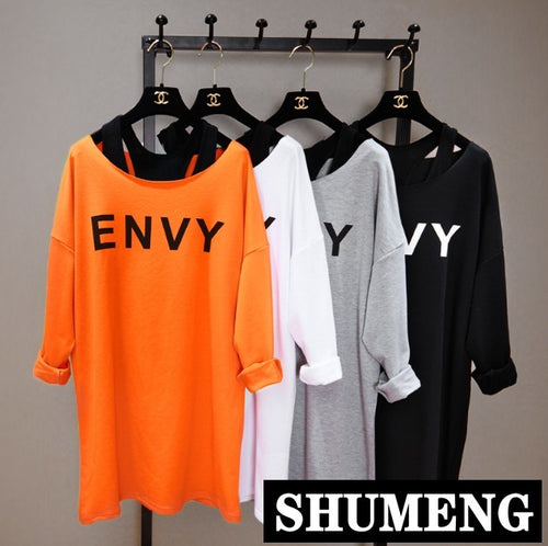Ulzzang New Two-piece Set T-shirt Korean Spring Fall Loose Long Sleeve Street Tee Women Students Letters Pullover Sweatshirt Top