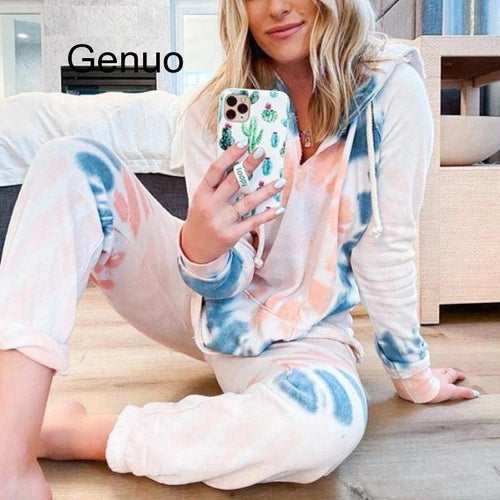 Women Joggers Tie-Dye Print Tracksuit Summer Full Length Casual Streetwear Sweatpants Hoodie High Waist Loose Women's Set 2020