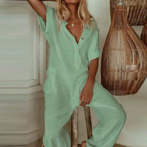 Casual Women Cotton Linen Jumpsuit Summer Short Sleeve Floral Print Playsuits Overalls Sexy V-Neck Button Loose Rompers Bodysuit