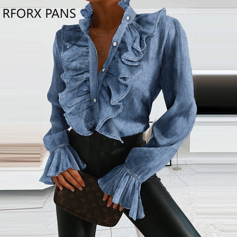 Women Denim Ruffled  Long Sleeve Sexy Casual  Blouse Plus Size Tops Spring Tops and Blouses