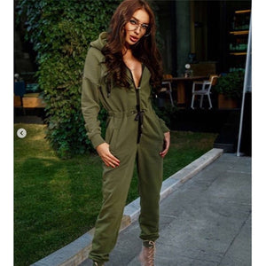 Womens Zipped Up Jumpsuit Autumn Winter Long Sleeve Women Rompers Casual Solid Hoodie Jumpsuit