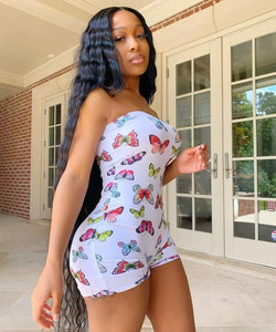 Fashion Summer Sexy Jumpsuit Women Off Shoulder Bodycon Butterfly Rompers Womens Casual Shorts Clubwear Playsuits Jumpsuits