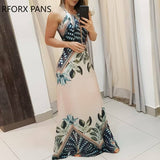 Women Halter Tripical Print Spaghetti Strap Maxi Dress Summer Dress Elegant Dress
