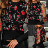 Sexy Women Spring Fall Embroidery Floral Shirt Blouses Tops OL Elegant Mesh See Through Puff Long Sleeve Shirt Patchwork Outwear