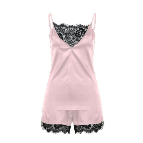 Ladies Women Satin Sexy Lingerie Lace Pajamas Set Elegant Sleeveless Top and Shorts Night Suit Pj Set Underwear Sleepwear