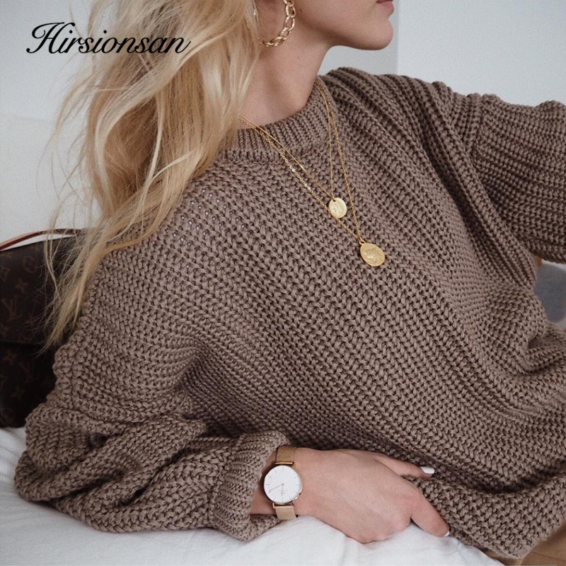 Hirsionsan Loose Autumn Sweater Women 2020 New Korean Elegant Knitted Sweater Oversized Warm Female Pullovers Fashion Solid Tops