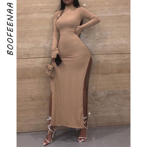 BOOFEENAA Turtleneck Long Sleeve Double Split Sexy Maxi Dresses Women 2020 Fall Winter Ribbed Knitted Bodycon Dress C74-DZ38