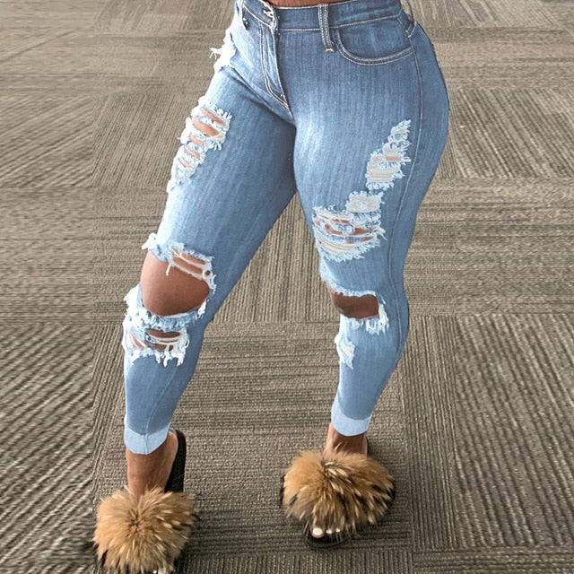 HAOYUAN Sexy Plus Size Hole Fashion Jeans Tassel Hollow Fall Clothing Elastic High Waist Denim Oversized Club Pants Womens Jeans