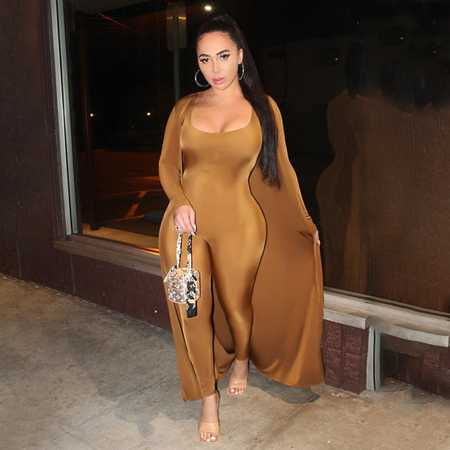 ANJAMANOR Sexy 2 Piece Sets Womens Outfits Fall Winter 2020 Backless Bodycon Jumpsuit and Long Sleeve Cardigan D37-DH41