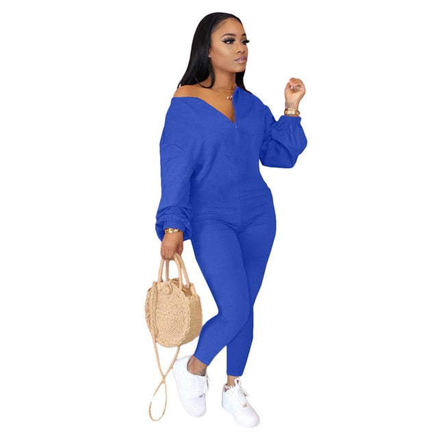 HAOYUAN Sexy Bodycon Rompers Womens Jumpsuits Long Sleeve Zip Fall Fashion Clothes Tracksuit One Piece Club Outfits Streetwear