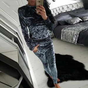 Autumn Velvet Tracksuit Women Sets Winter 2 Piece Velour Set Women Sweat Suit Plus Size Sweatshirt Two Piece Ooutfits Ladies