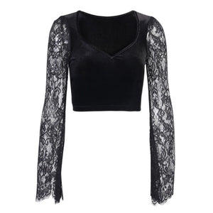 InsGoth Gothic Sexy V Neck Lace Black Tops Harajuku Vintage Velvet Bodycon Crop Top Women Autumn Transparent Long Sleeve Tops
