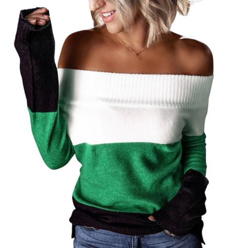 2020 Women Autumn Winter Off Shoulder Patchwork Long Sleeve Pullover Knitted Sweater Women's Clothing свитер женский pull femme
