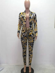 Autumn fashion Women Suits Set sexy Slim Casual 2 Piece Set Suit Women's Two-piece sexy V-neck printed suit gold dropshipping