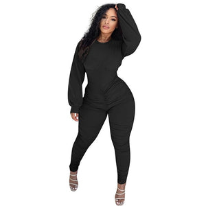 HAOYUAN Sexy Bodycon Jumpsuits for Women One Piece Outfits Stacked Pants Fall Clothing Club Long Sleeve Corset Romper Overalls