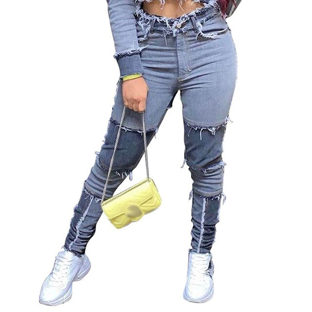HAOYUAN Sexy Patchwork Jeans Fashion Women Fall Winter Clothing Elastic High Waisted Jeans Streetwear Club Pants Denim Trousers