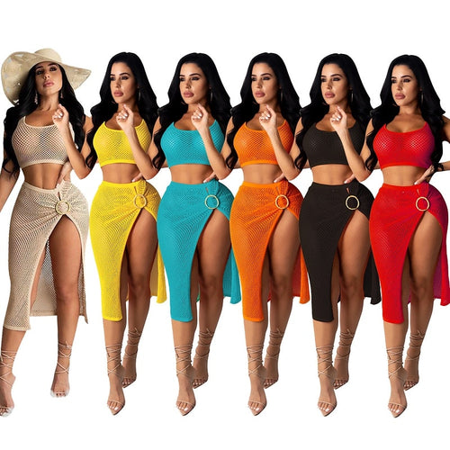 2020 New mesh hollow out 2PCS/SET beach dress sexy women see through crop top+high split bikini swimsuit bathing suit cover up