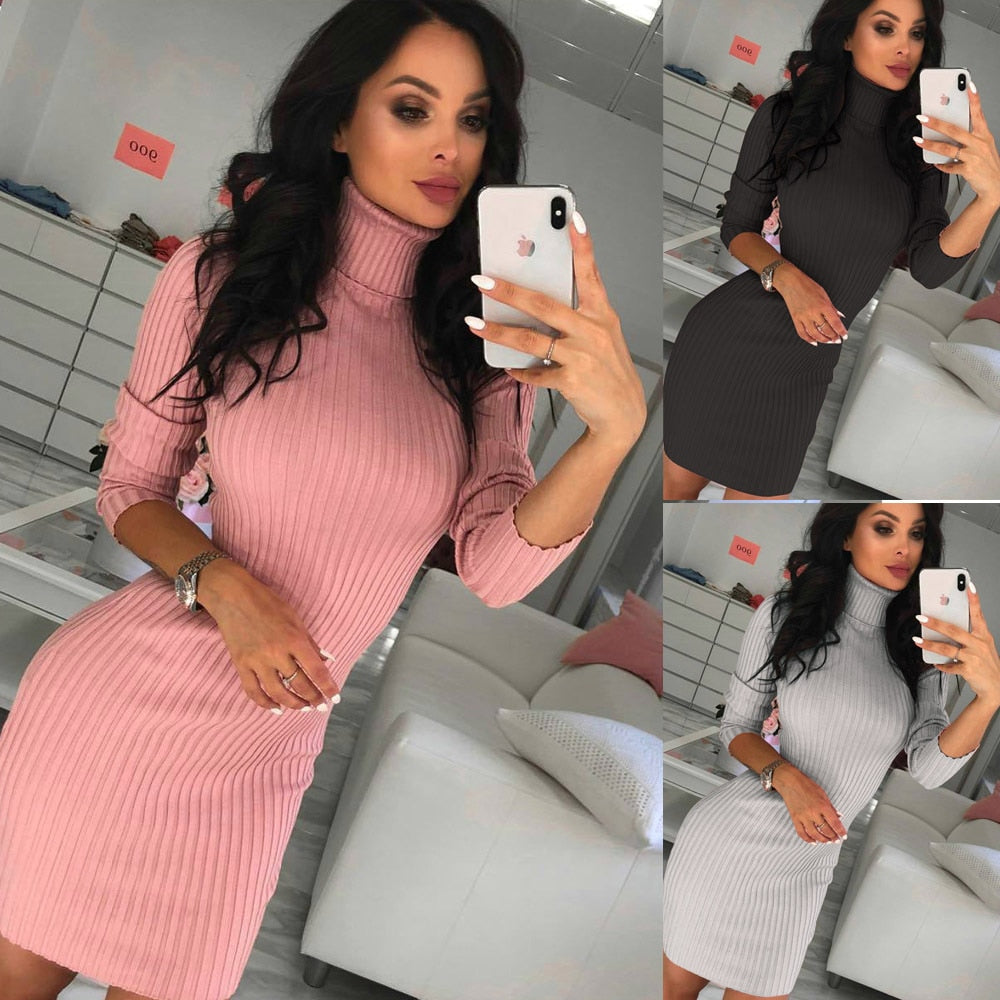 Sexy Turtleneck Sweater Dress Women Solid Long Sleeve 2020 New Autumn Mini Thin Dresses Fashion Ladies Comfortable Bodycon Dress