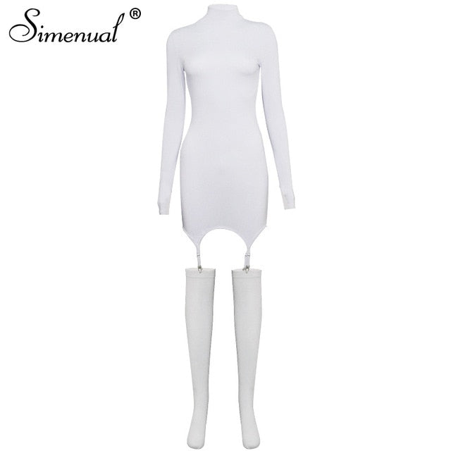 Simenual Solid Bodycon Garter Women Mini Dress with Stocking Long Sleeve Sexy Clubwear Skinny Party Dresses Autumn 2021 Hot Slim