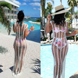 2021 Summer Beach Dress White Mesh Cover Up Women Crochet Bikini Cover Ups Swimwear Bathing Suit Swimsuit Beachdress