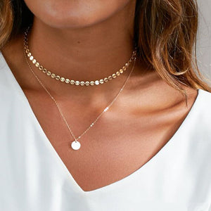 Gold Coin Layered Choker Necklace