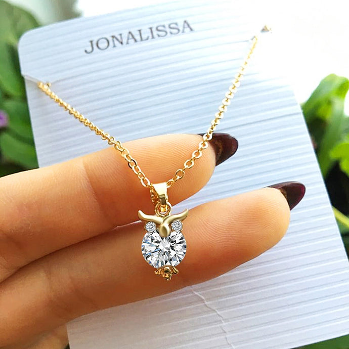 Zircon Pendants Owl Necklace