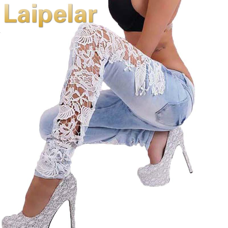 Laipelar Women Fashion Side Lace Jeans Hollow Out Skinny Denim Jeans Woman Pencil Pants Patchwork Trousers for Women Ropa Mujer